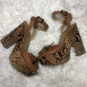 Levity Snakeskin block heels